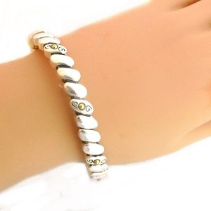 Jewelry - Stretch Bracelet-Silver Ovals with Gold Accents